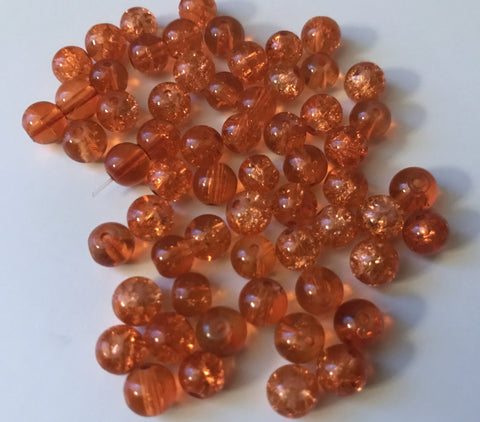 200 PCS 6mm Orange Crackle Glass Beads round spacer beads jewelry making 88y