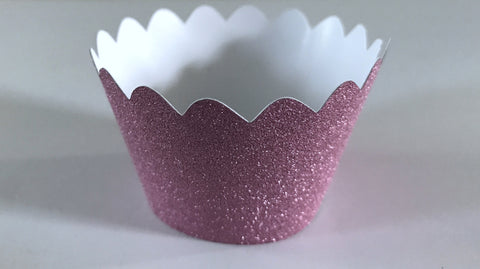 12 pcs MINI (Small) Glitter Dark Pink Scallop Cupcake Wrappers