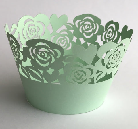 12 pcs MINI (Small) Mint Green Garden of Roses Lace Cupcake Wrappers