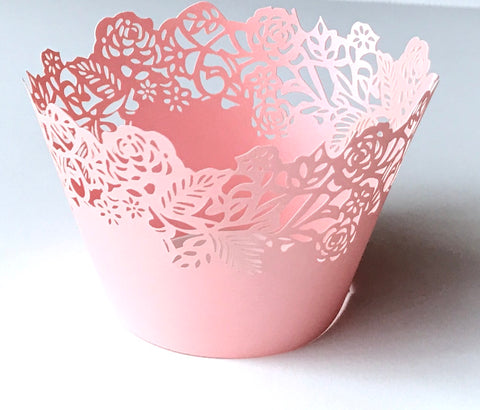 12 pcs Pink Large Fleurs Small Flowers Cupcake Wrappers