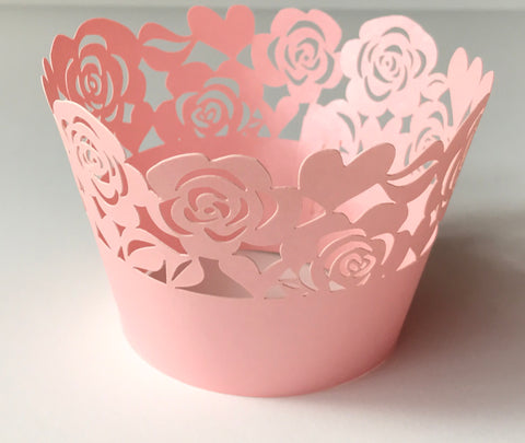 12 pcs Blush Pink Garden of Roses Cupcake Wrappers