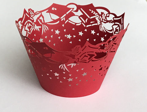 12 pcs Graduation Dark Red Cupcake Wrappers