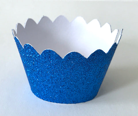 Copy of 12 pcs MINI (Small) Glitter Royal Blue Scallop Cupcake Wrappers