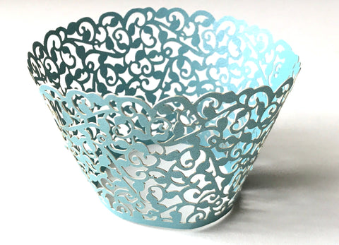 12 pcs BlueJay Blue Classic Filigree Lace Cupcake Wrappers