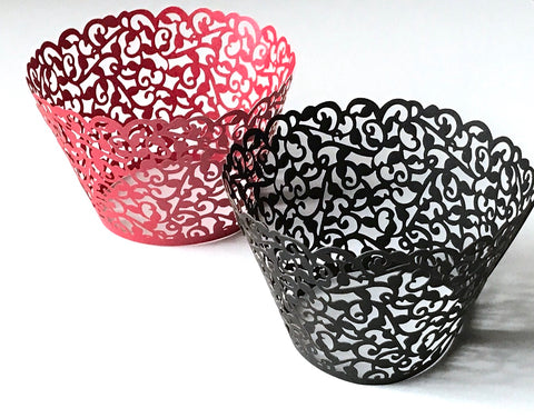 12 pcs Red & Black (6 in red and 6 in black) Classic Filigree Lace Cupcake Wrappers