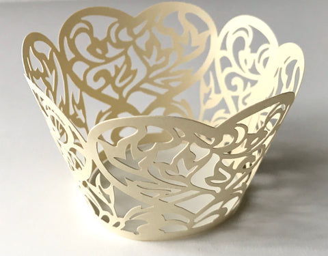 12 pcs Light Gold B Heart Lace Cupcake Wrappers