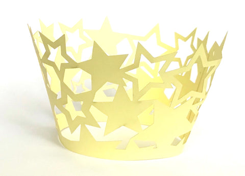 12 pcs Yellow Star Cupcake Cupcake Wrappers Stars