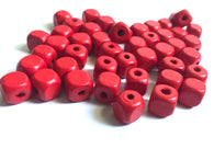 200 pcs Red Square Wood Beads 10mm Bead Jewelry Making Wooden Tool square Craft bead