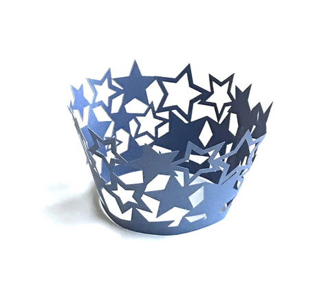 12 pcs Dark Blue Star Cupcake Wrappers
