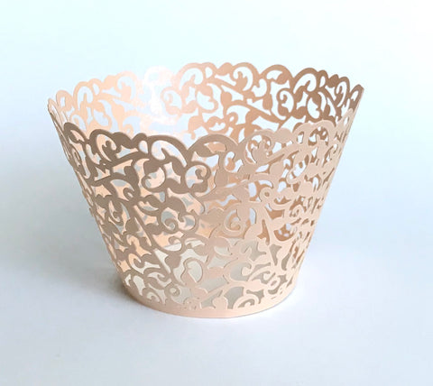 12 pcs Rose Gold Classic Lace Cupcake Wrappers