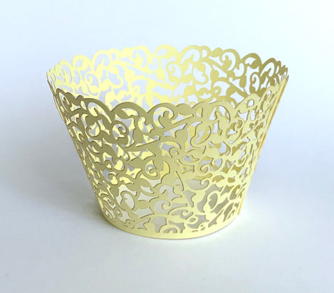 12 pcs Yellow Classic Lace Cupcake Wrappers