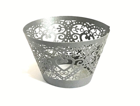 12 pcs Gray Heart Lace Cupcake Wrappers Grey