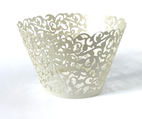 12 pcs Silver Gray Classic Lace Cupcake Wrappers
