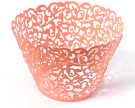 12 pcs Peach Coral Classic Lace Cupcake Wrappers