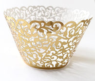 12 pcs Metallic Gold Classic Lace Cupcake Wrappers