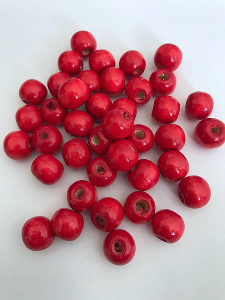 200 pcs Cherry Red Wood Beads Round 12mm Bead
