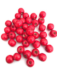 200 pcs Cherry Red Wood Beads Round 12mm Bead Jewelry Making Wooden Tool