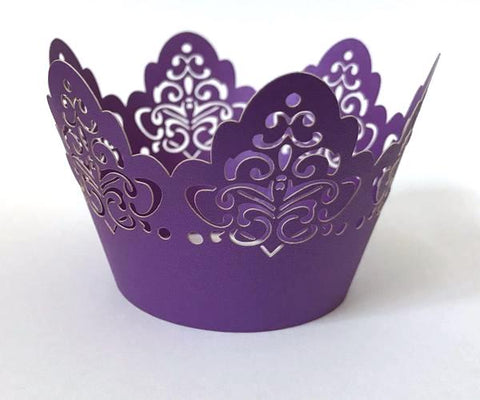 12 pcs Purple Damask Crown Lace Cupcake Wrappers