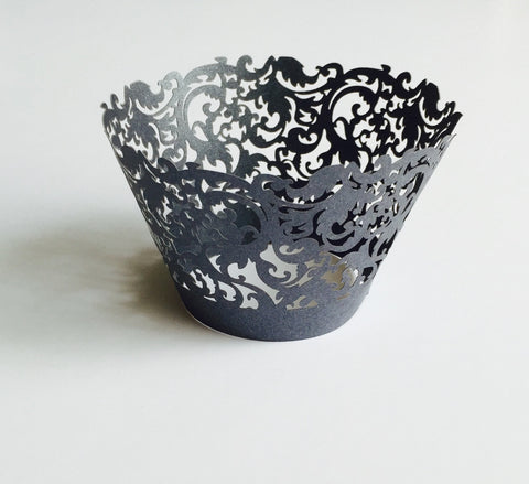 12 pcs Black Damask Lace Cupcake Wrappers