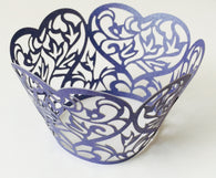 12 pcs Dark Blue Heart Lace Cupcake Wrappers