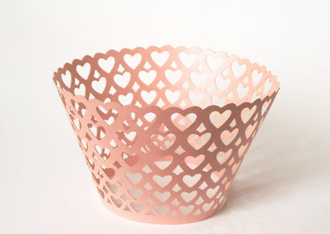 12 pcs Pink All Over Heart Lace Cupcake Wrappers