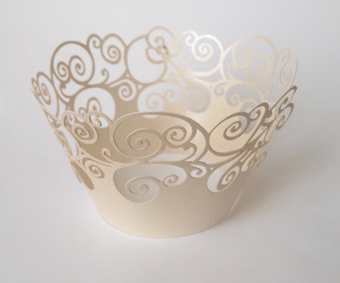 12 pcs Pale White Swirl Cupcake Wrappers