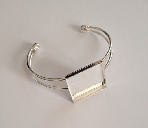 New Silver Plated Cuff Bangle Square Bracelet Copper Jewelry Charms Bangles Tools Supplies 76B