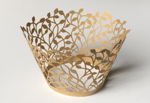 12 pcs Gold Leaves II Cupcake Wrappers