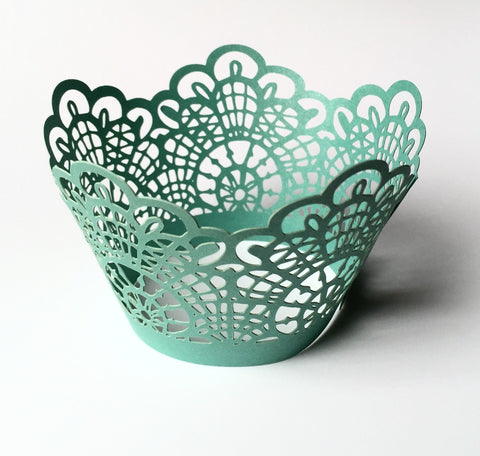12 pcs Turquoise Green Crochet Lace Cupcake Wrappers