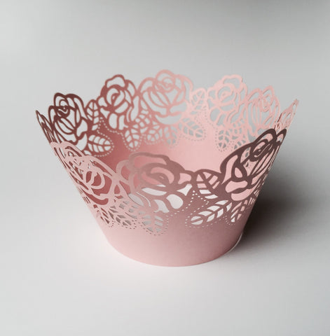 12 pcs MINI (Small) Pink Rose Lace Cupcake Wrappers
