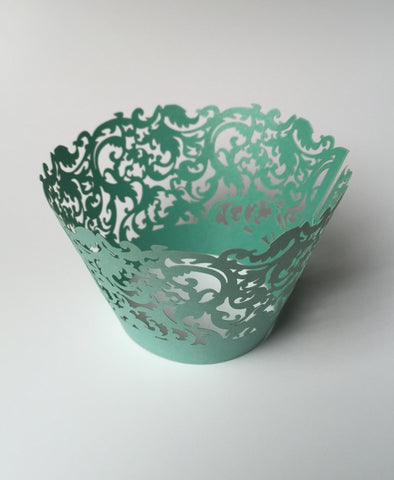 12 pcs Turquoise Green Damask Cupcake Wrappers