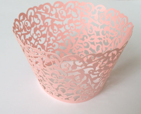 12 pcs MINI (Small) Pink Filigree Lace Cupcake Wrappers