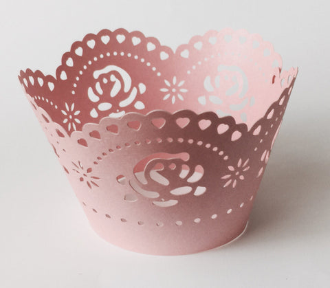 12 pcs Pearlized Pink Scallop Roses Rose Cupcake Wrappers