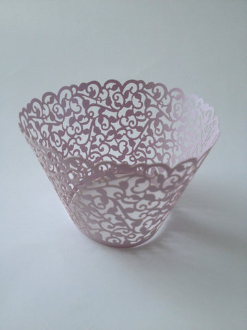 12 pcs (MINI) Small Lavender Classic Lace Cupcake Wrappers