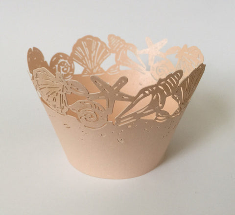 12 pcs Rose Gold Seashells Cupcake Wrappers