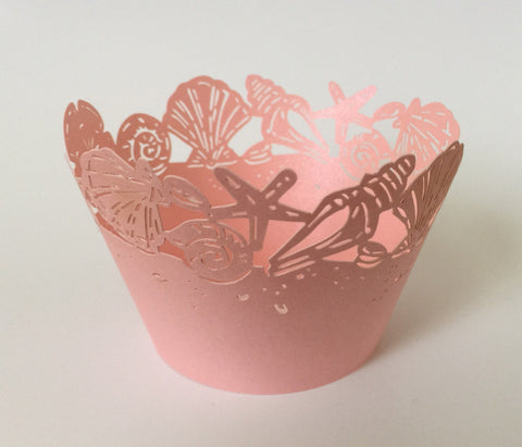 12 pcs Pink Seashells Cupcake Wrappers
