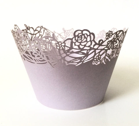 12 pcs Lavender Rose Petite Fleurs Small Flowers Cupcake Wrappers