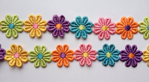 2 Yards Colorful Flower Trim Edging