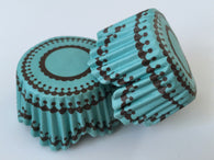 50 pcs Turquoise Blue Scallop Cupcake Liners