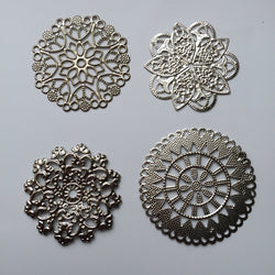 20 pcs Silver Tone Embellishments Scrapbooking Paper Craft Metal Stamping Lace Filigree