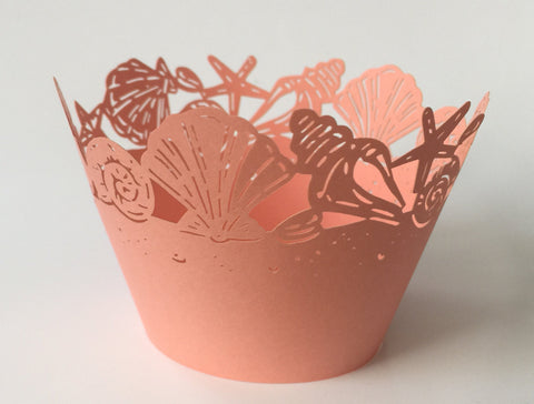 12 pcs Peach Coral Seashells Cupcake Wrappers