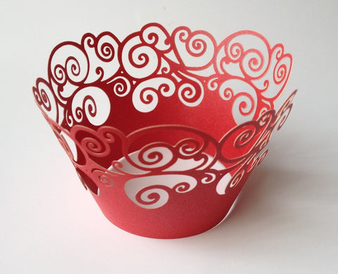 12 pcs Red Swirl Cupcake Wrappers