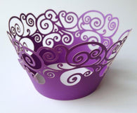 12 pcs Purple Swirl Lace Cupcake Wrappers