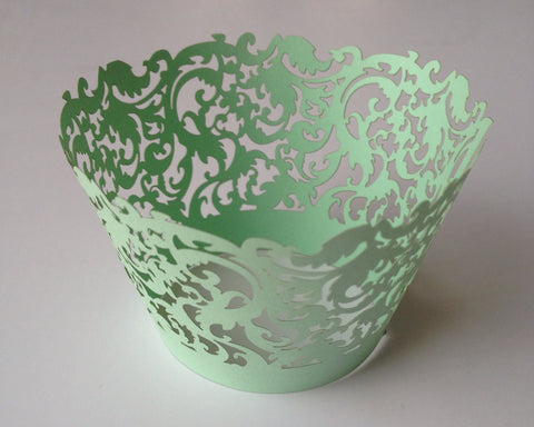 12 pcs Mint Green Damask Cupcake Wrappers