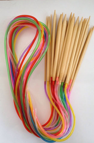 "Brand New! 15 pcs Bamboo 40"" Knitting Needles Finish Weave Knitting Crochet Plastic Tube Stopper Hook Colorful"