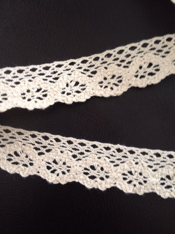 10 Yards Ivory Cotton Crochet Lace Edging V1T