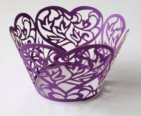 12 pcs Purple Heart Lace Cupcake Wrappers