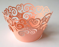 12 pcs Peach Coral Swirl Lace Cupcake Wrappers