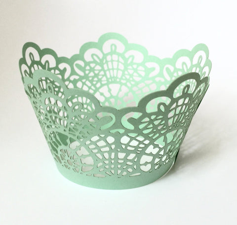 12 pcs Mint Green Crochet Lace Cupcake Wrappers