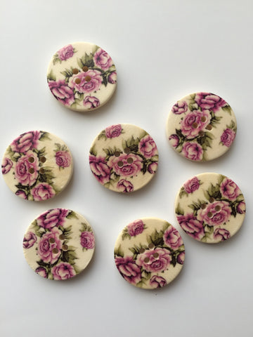 New 30 pcs Beautiful Vintage Rose Buttons Sewing Buttons Button Pink Green Wood 30mm